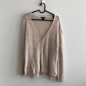 H&M nude sequin sweater cardigan